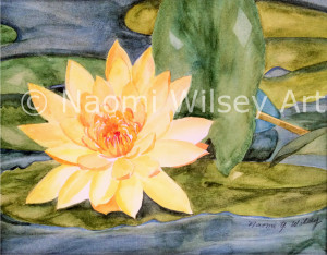 """""""Floating"""" Original watercolor, framed 16 x 14, also available as a blank note card"""