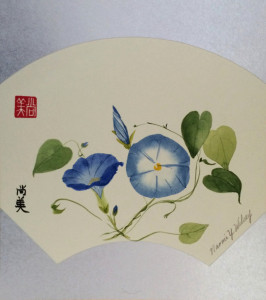 """Morning Moment"" Original Japanese brush painting on rice paper panel, 15"" x 16 1/4"" framed; also available as a note card."