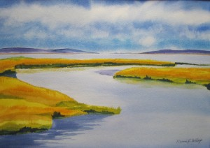 """Salt Marsh Pond"" Original watercolor, framed 20"" x 16"", also available as a blank note card."